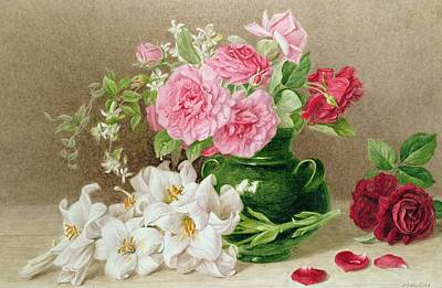 Lily Painting - Roses And Lilies by Mary Elizabeth Duffield