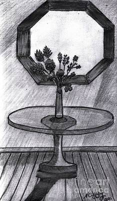 Drawing - Roses  And Octagon Window by Neil Stuart Coffey