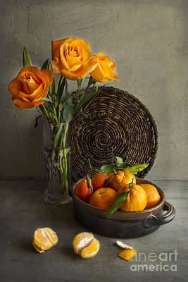 Roses And Oranges Print by Elena Nosyreva