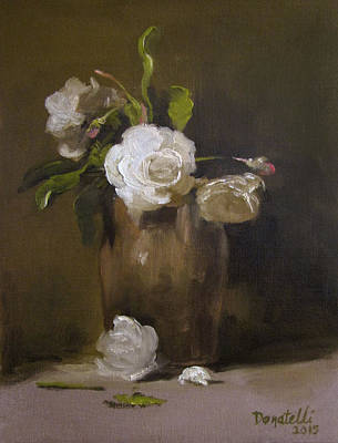 Painting - Roses And Silver Pitcher 2 by Kathryn Donatelli