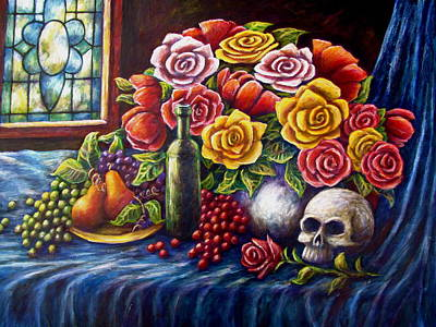 Painting - Roses And Skull by Sebastian Pierre