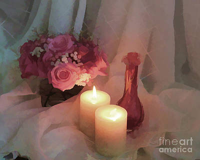 Flower Pint Photograph - Roses By Candlight - Digital Paint by TN Fairey