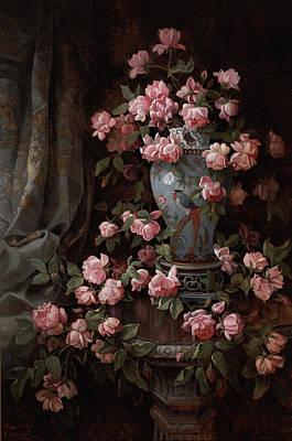 Rose Flower Bud Painting - Roses by Edwin Deakin