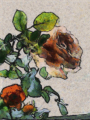 Digital Art - Roses by Ernie Echols