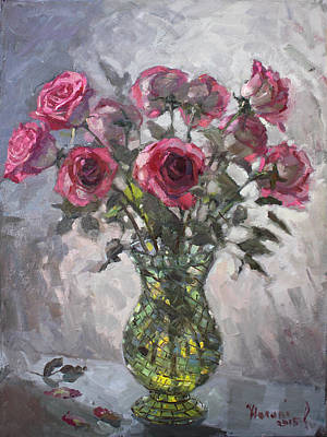 Red Rose Wall Art - Painting - Roses For Viola 2 by Ylli Haruni