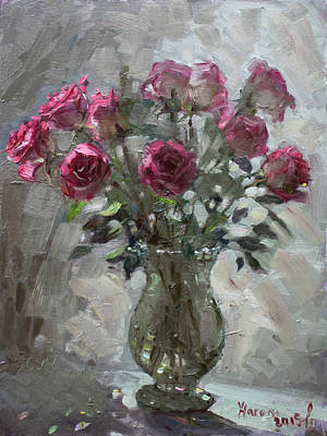 Red Rose Painting - Roses For Viola by Ylli Haruni