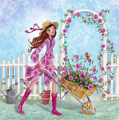 Flower Pink Fairy Child Painting - Roses For You by Caroline Bonne-Muller