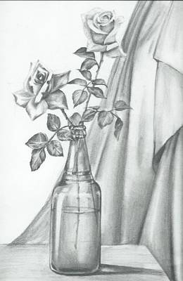 Glass Bottle Drawing - Roses by Gayatri Ketharaman