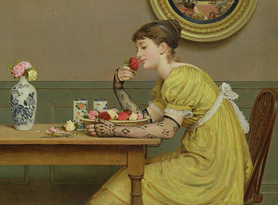 Reverie Painting - Roses by George Dunlop Leslie