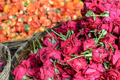 Photograph - Roses In A Basket For Sale In India by Brandon Bourdages