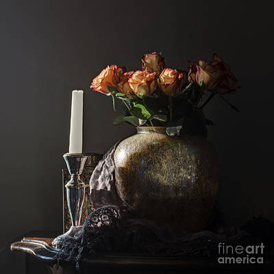 Roses In A Darkening Room Art Print