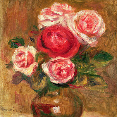 Roses In A Pot Art Print by Pierre Auguste Renoir
