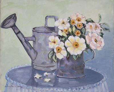 Painting - Roses In A Tin Measure by Winifred Lesley