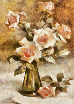 Digital Art - Roses In A Vase by Charmaine Zoe