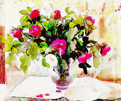 Table Cloth Digital Art - Roses In A Vase by Farrukh Jabeen