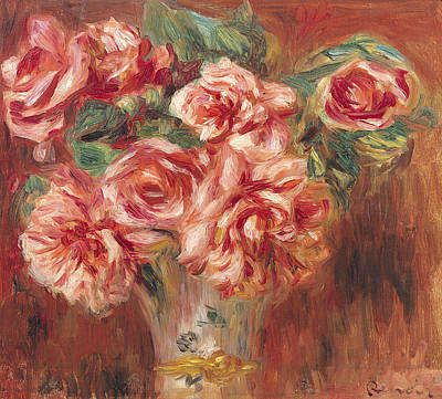 Roses In A Vase Art Print by Pierre Auguste Renoir