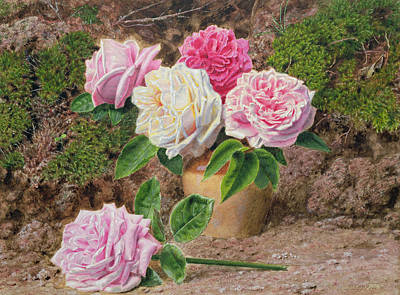 Roses In An Earthenware Vase By A Mossy Art Print by John Sherrin