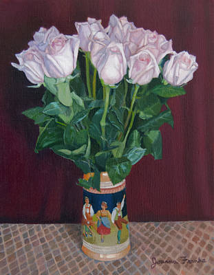 Checked Tablecloths Drawing - Roses In Beer Stein by Joanna Franke