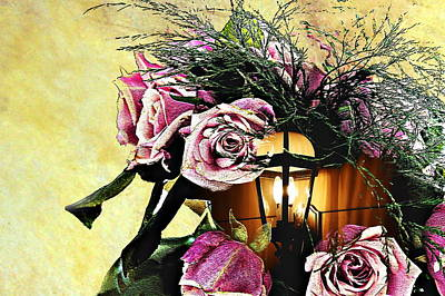 Lantern Digital Art - Roses In Lantern by Frank Garciarubio