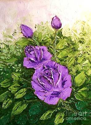 Roses In Lavender Art Print by Peggy Miller