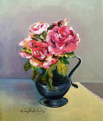 Painting - Roses In Pewter by Winifred Lesley