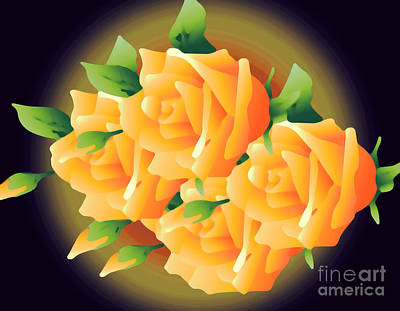 Roses In Sunset Art Print by Gayle Price Thomas