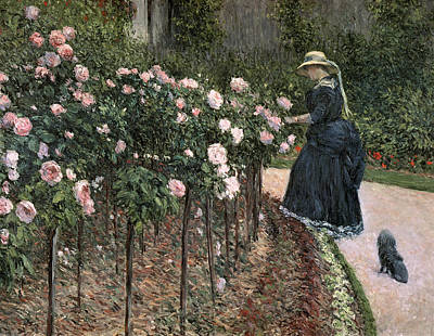 Gardening Painting - Roses In The Garden At Petit Gennevilliers by Gustave Caillebotte