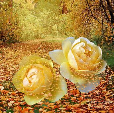 Photograph - Roses In The Woods In Autumn by Annie Zeno
