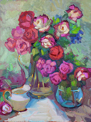Roses In Two Vases Art Print by Diane McClary