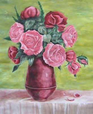Roses In Vase Art Print by Vlatka Kelc