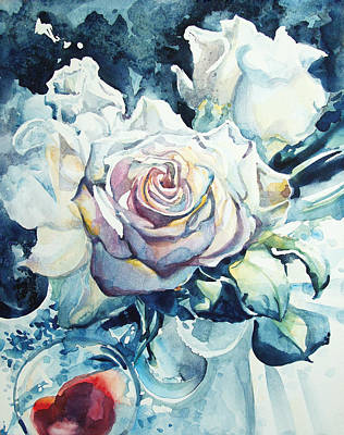 Roses In Winter Morning Light Print by Kelly Johnson