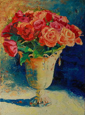 Roses In Wire Vase Art Print