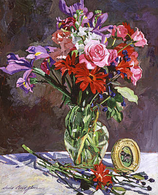 Table Cloth Painting - Roses Irises And Gerbras by David Lloyd Glover