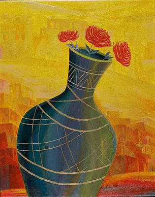 American Jewish Artists Painting - Roses by Israel Tsvaygenbaum