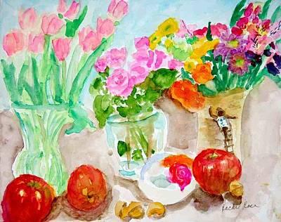 Roses Lilies Apples Vases And Leaves Original by Rachel Rose