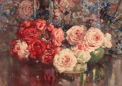 Interior Still Life Painting - Roses by Mountain Dreams