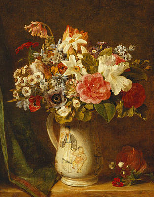 Other Painting - Roses Narcissi And Other Flowers In A Vase by Alfred Morgan