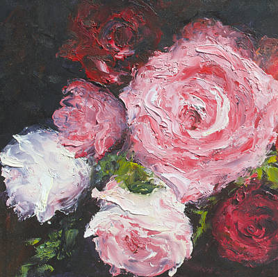 Pink Decor Painting - Roses Oil Painting by Jan Matson