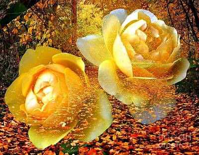 Photograph - Roses On An Autumn Path by Annie Zeno