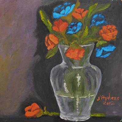 Floral Painting - Roses Orange And Blue by Nina Stephens
