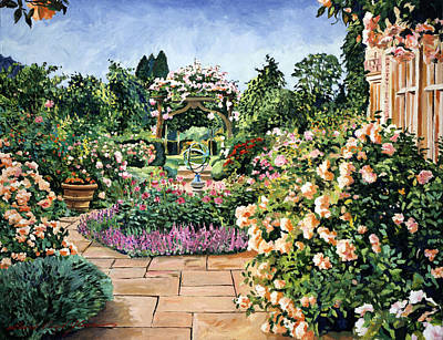 Pathway Painting - Roses Orange by David Lloyd Glover