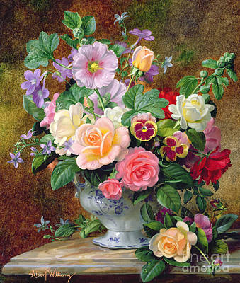 Red Rose Wall Art - Painting - Roses Pansies And Other Flowers In A Vase by Albert Williams
