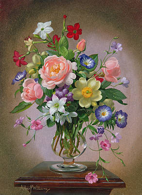Roses, Peonies And Freesias In A Glass Vase Oil On Canvas Art Print