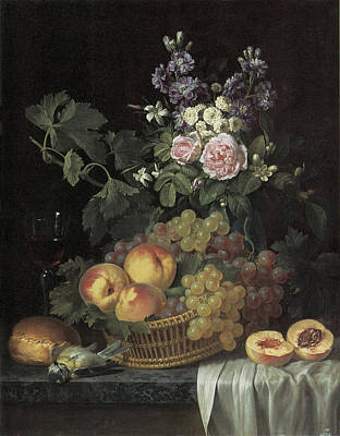 Glass Of Wine Painting - Roses Stocks Jasmine And Other Flowers In A Vase by Jean-pierre-xavier Bidauld