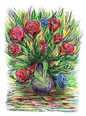 Flower Drawing - Roses Style Van Gogh by Mario Perez