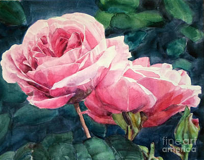 Painting - Watercolor Of Two Luscious Pink Roses by Greta Corens