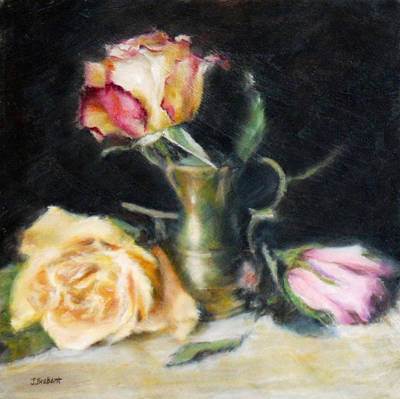 Floral Still Life Painting - Roses With A Brass Pot by Jill Brabant