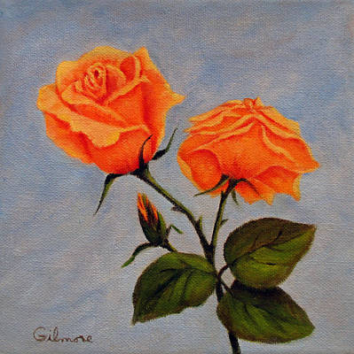 Roses With Bud Original by Roseann Gilmore