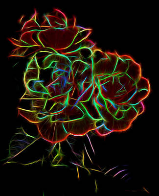 Roses With Neon Outlines Original