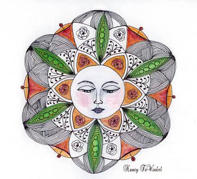 Rose Bud Drawing - Roses'n Pods Mandala by Nancy TeWinkel Lauren